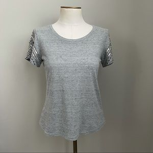 BKE Boutique Heathered Gray Shirt w/Bling S